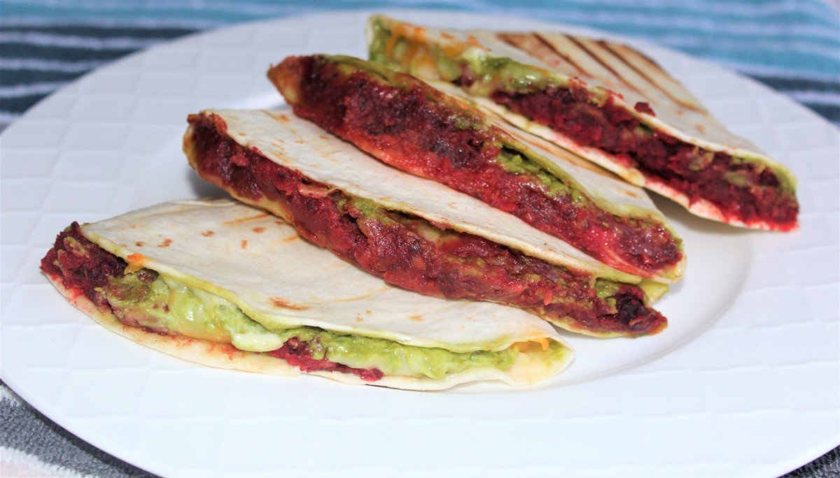 Beet and Guacamole Quesadilla