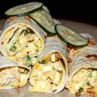 Soft boiled Egg Salad & Cucumber Wraps with Crispy Fried Onions