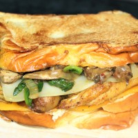 Grilled Chicken Sandwich with sautéed mushroom, spinach & onions